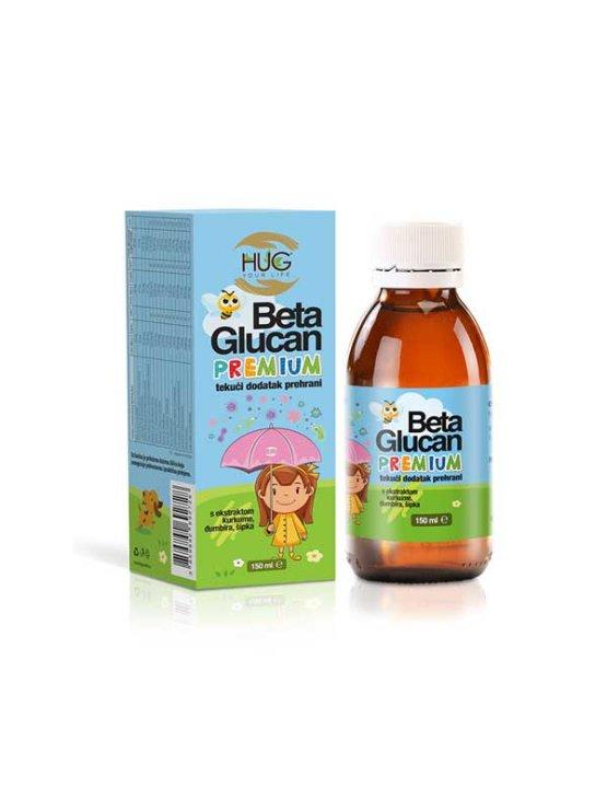 Hug Your Life Beta Glucan premium & C3 Complex tekoče prehransko dopolnilo v temni steklenički, 150ml.