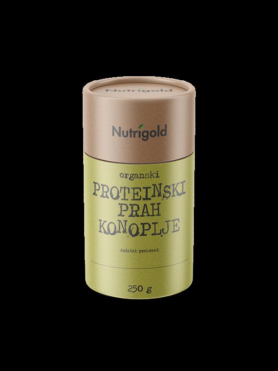 Nutrigold ekološke konopljine beljakovine v prahu v rjavi embalaži, 250g.