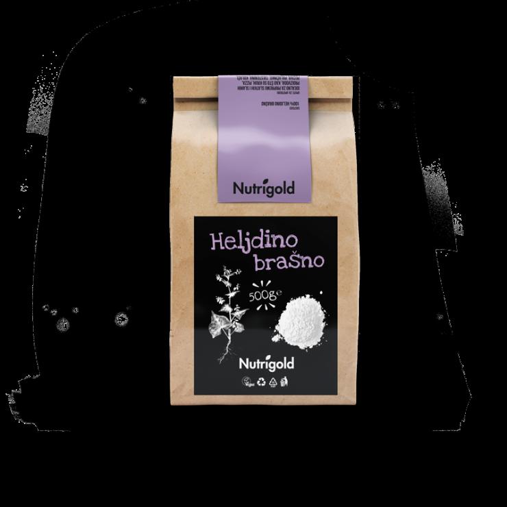 Nutrigold ajdova moka v 500 gramski rjavi papirnati embalaži.