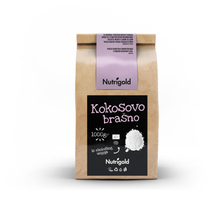 Nutrigold ekološka kokosova moka v rjavi papirnati embalaži, 1000g.
