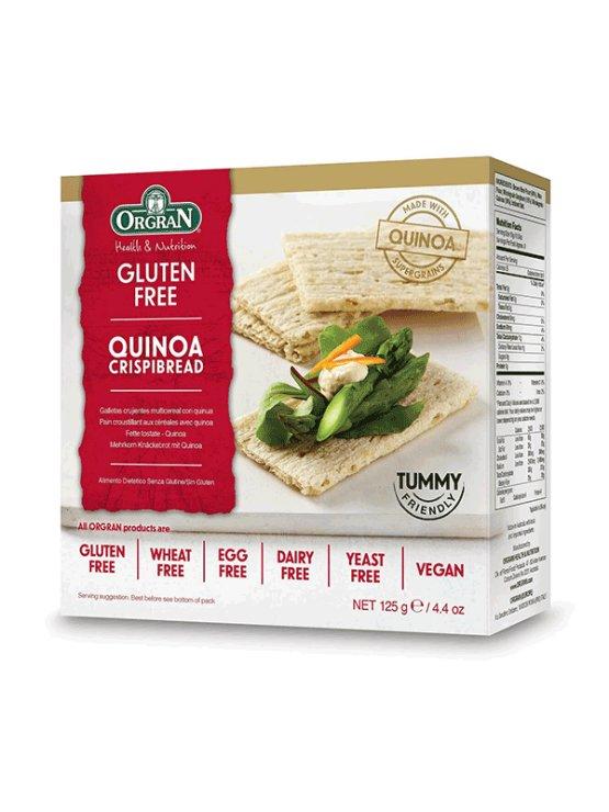 Orgran hrustljavi kruhki iz kvinoje v kartonski embalaži, 125g.