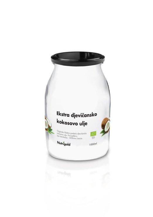Nutrigold ekološko ekstra deviško kokosovo olje v 1000 mililitrskem kozarcu.
