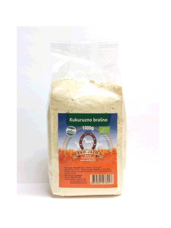 Eko Jazbec ekološka koruzna moka v prozorni plastični embalaži, 1kg.