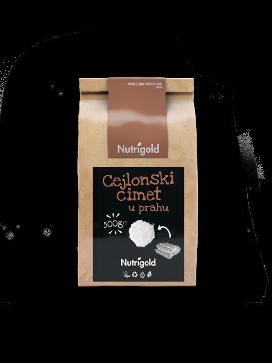 Nutrigold cejlonski cimet v prahu v 500 gramski rjavi papirnati embalaži.
