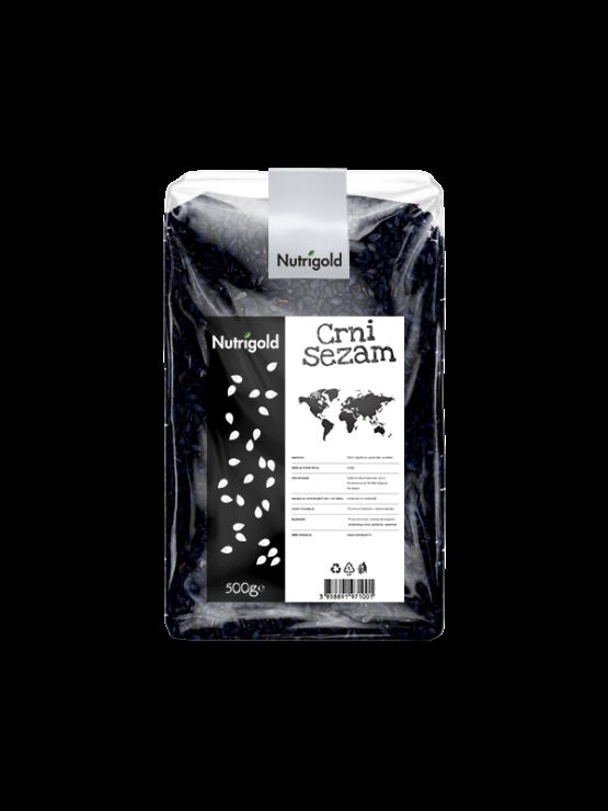 Nutrigold črni sezam v prozorni plastični embalaži, 50g.