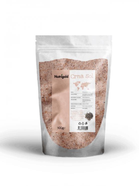 Nutrigold Črna sol Kala Namak v 500 gramski prozorni plastični embalaži.
