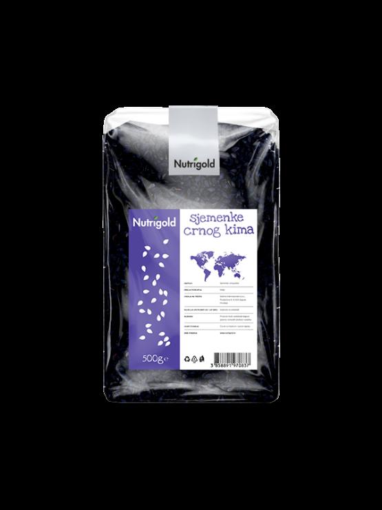 Nutrigold semena črna kumine v 500 gramski prozorni plastični embalaži.