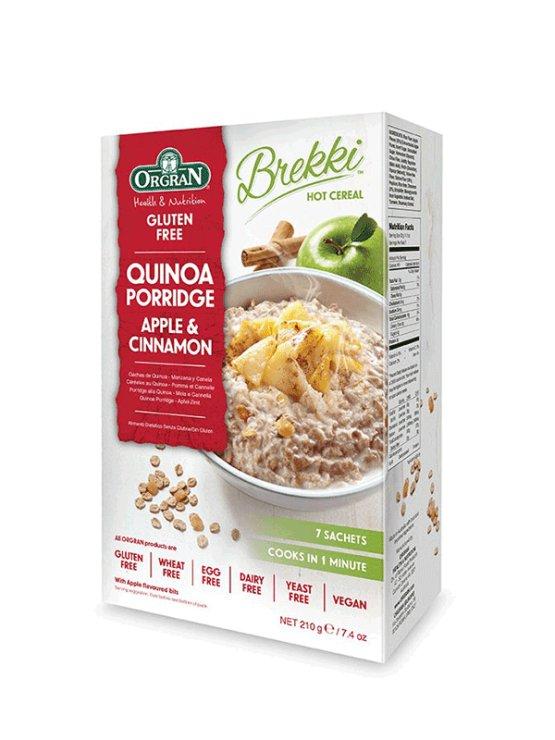 Orgran kvinojina kaša z jabolkom in cimetom v kartonski embalaži, 210g.