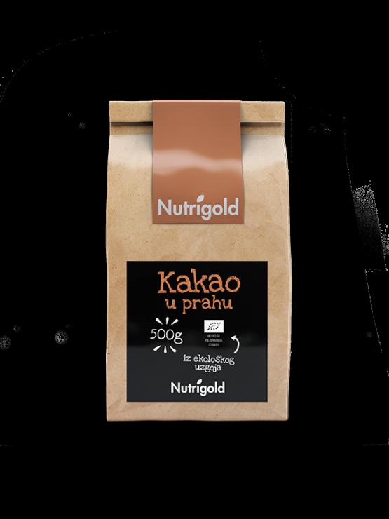 Nutrigold ekološki kakav v prahu v rjavi papirnati embalaži, 500g.