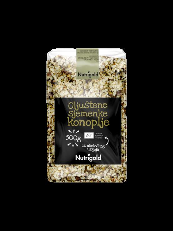 Nutrigold ekološka oluščena konopljina semena v prozorni plastični embalaži, 500g.