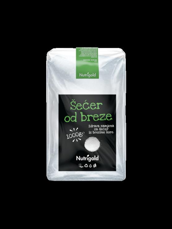 Nutrigold ekološki brezov sladkor v prozorni plastični embalaži, 1000g.