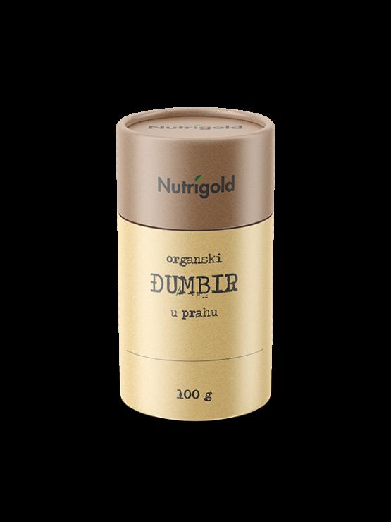 Nutrigold ekološki ingver v prahu v rjavi valjkasti embalaži, 100g.