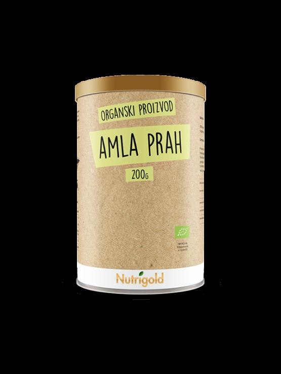Nutrigold ekološka amla (amalaki) v prahu v valjkasti rjavi kartonski embalaži, 200g.