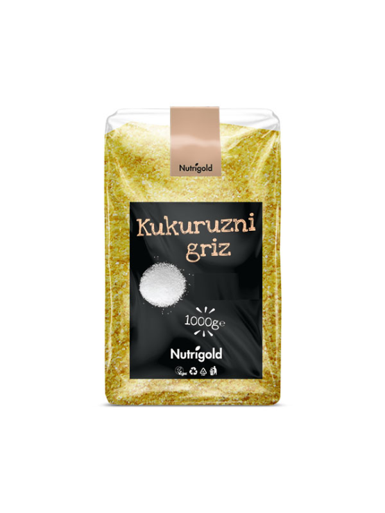Nutrigold koruzni zdrob v prozorni plastični ebalaži, 1000g.
