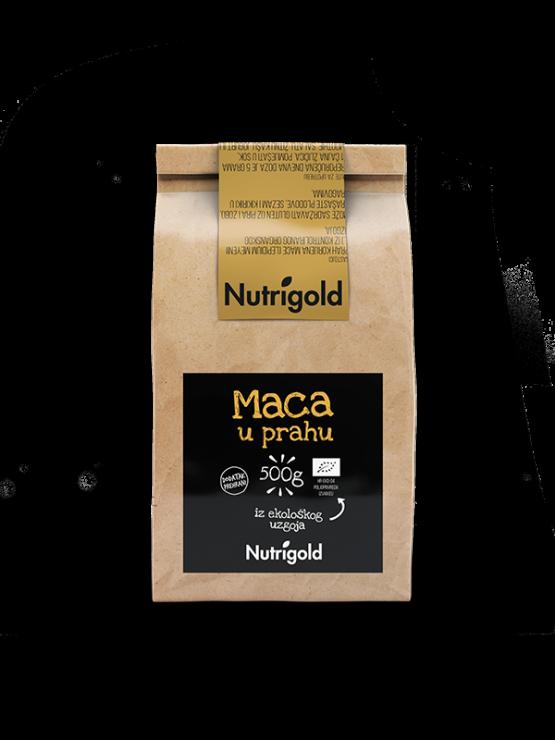 Nutrigold ekološka maca v prahu v rjavi papirnati embalaži, 500g.