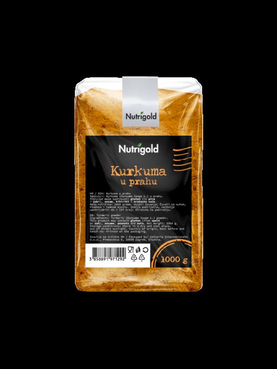 Nutrigold kurkuma v prahu v prozorni plastični embalaži.