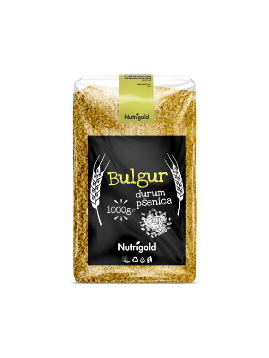Nutrigold Bulgur v prozorni 1000 gramski embalaži.
