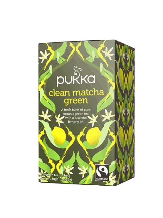 Pukka ekološki čaj Clean Matcha Green v kartonski embalaži, 30g.