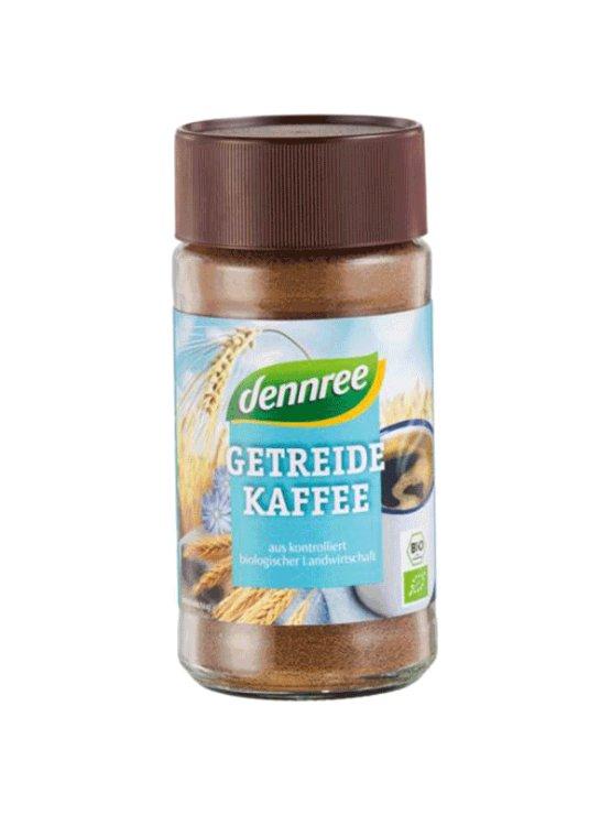 Dennree ekološka kava iz ječmena in cikorije v kozarcu, 100g.