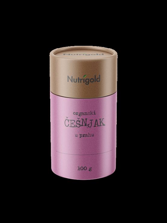 Nutrigold ekološki česen v prahu v 100 gramski rjavi embalaži.