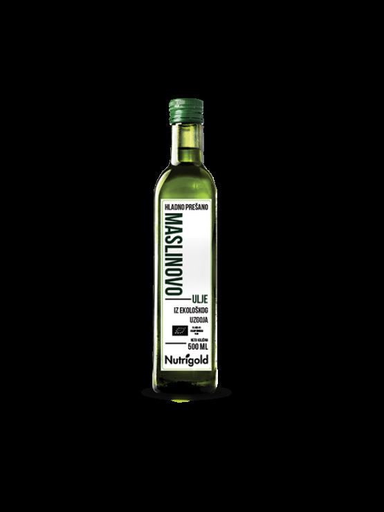 Nutrigold ekološko ekstra deviško oljčno olje v steklenici, 500ml.