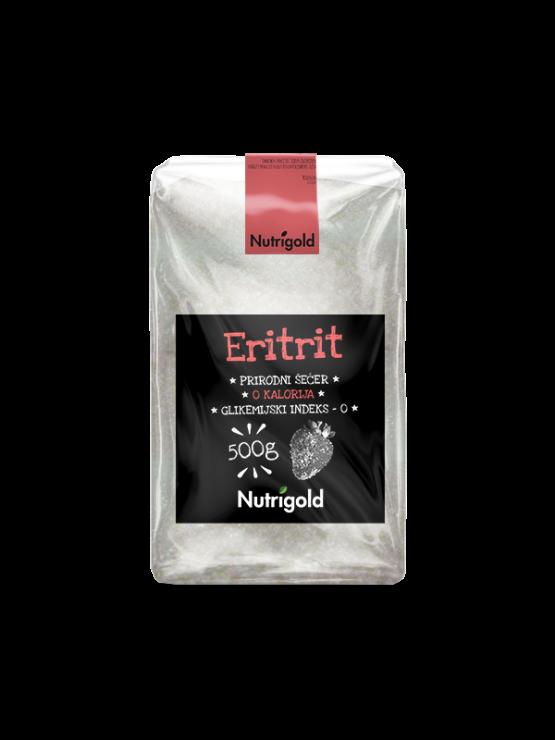 Nutrigold eritritol naravno sladilo brez kalorij v 500 gramski prozorni plastični embalaži.