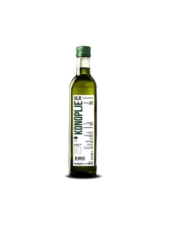 Nutrigold ekološko hladno prešano konopljino olje v steklenici, 1000ml.