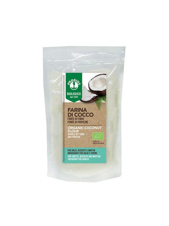 Probios kokosova moka brez glutena v prozorni plastični embalaži, 250g.