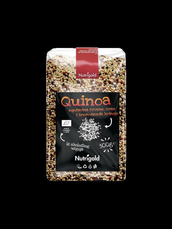"""Nutrigold ekološka kvnoja """"Tricolor"""" v prozorni plastični embalaži, 500g."""