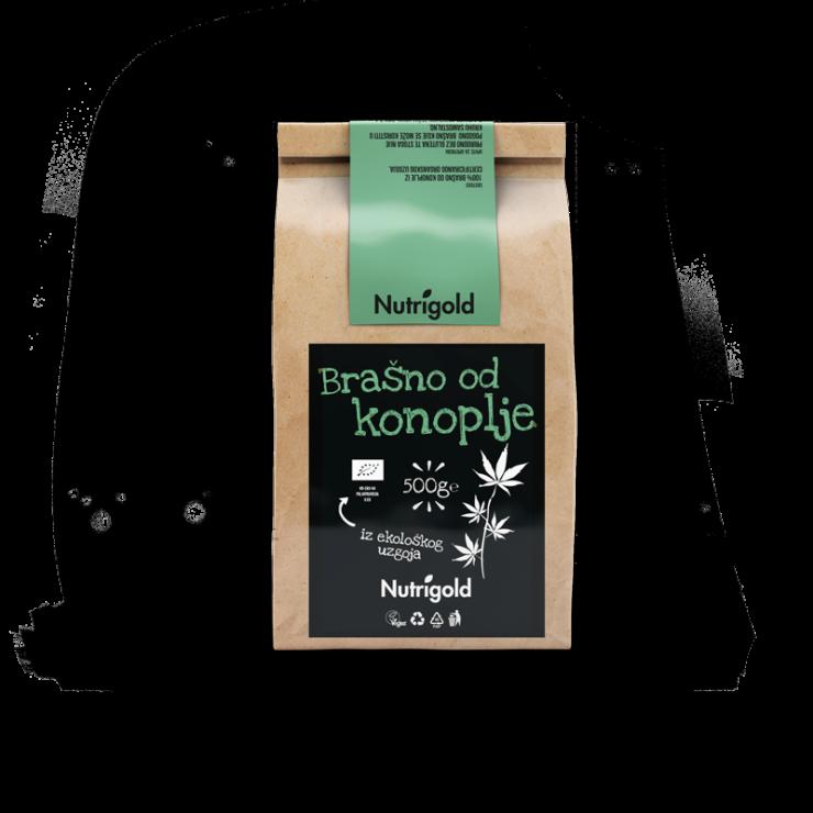 Nutrigold konopljina moka iz ekološke pridelave v 500 gramski rjavi plastični embalaži