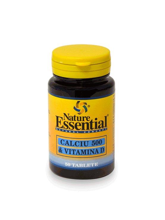 Nature Essential Kalcij 500 + Vitamin D3 1000mg v plastični embalaži, 50 tablet.