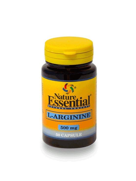 Nature Essential L-arginin 500mg v plastični embalaži, 50 kapsul.