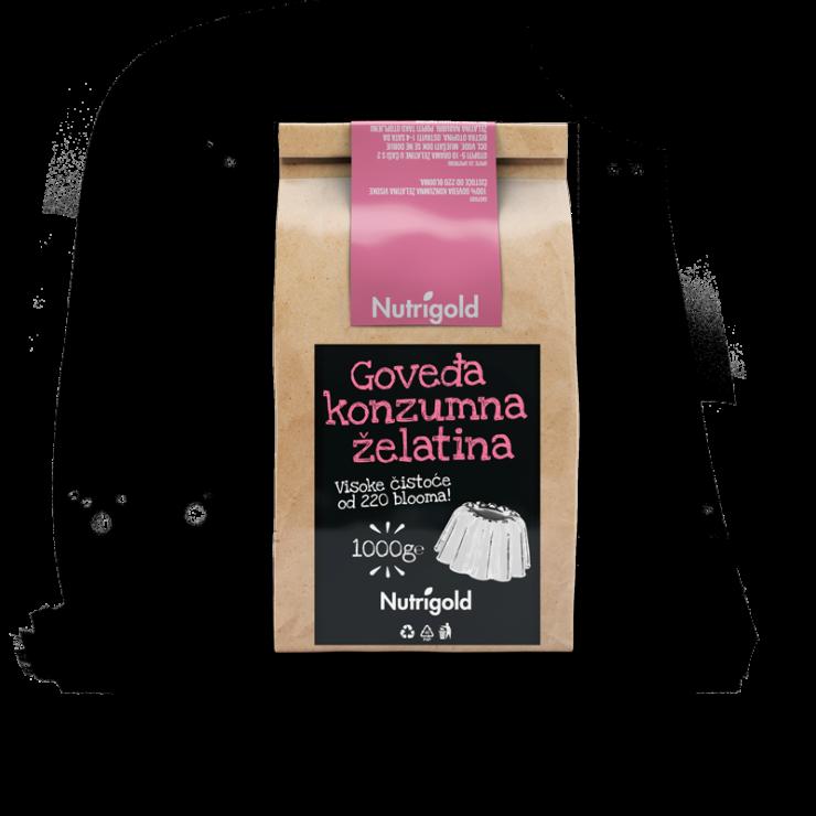 Nutrigold goveja jedilna želatina v prahu v rjavi papirnati embalaži, 1000g.