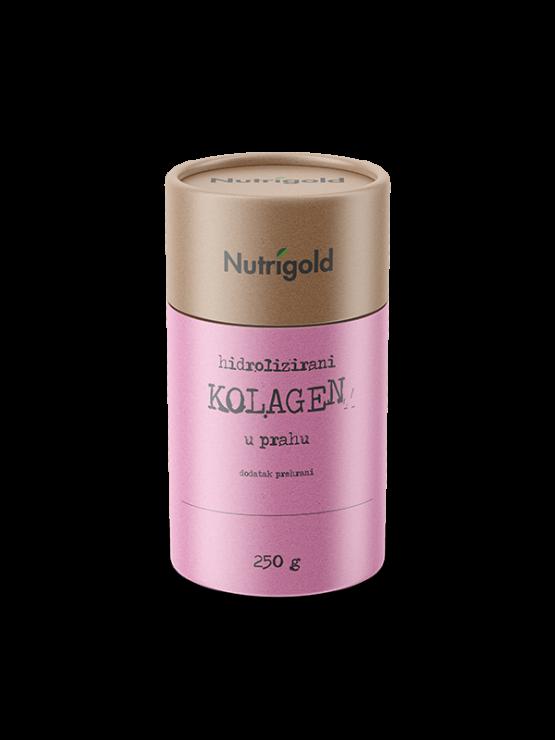 Hidrolizirani kolagen v prahu v rjavi 250 gramski embalaži.