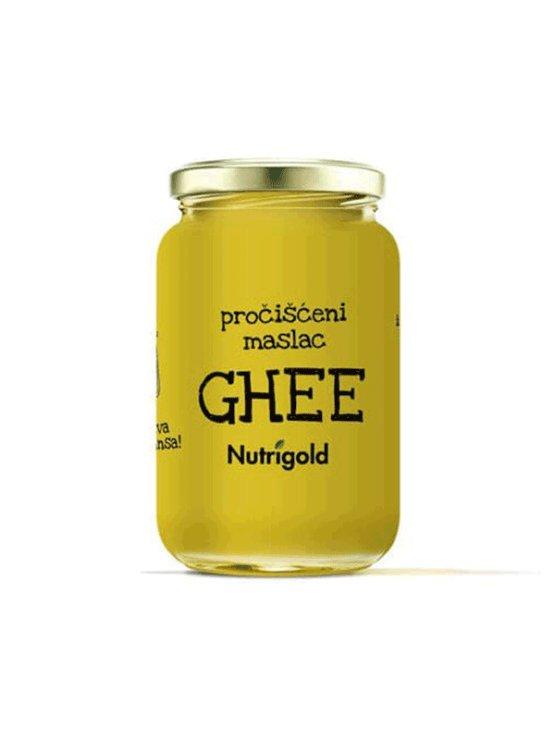Nutrigold ekološko ghee prečiščeno maslo v 500 mililitrskem kozarcu.