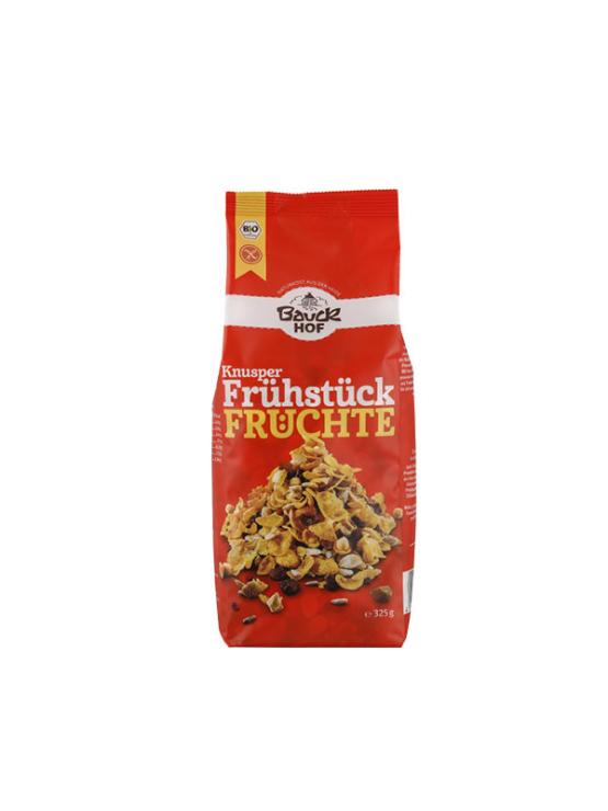 BauckHoff ekološki hrustljav zajtrk s sadjem v plastični embalaži, 325g.