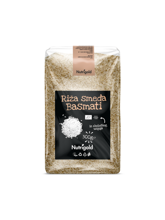Nutrigold ekološki rjavi basmati riž v 500 gramski prozorni plastični embalaži
