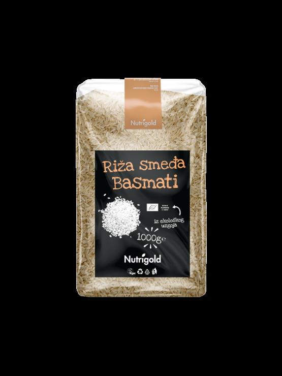 Nutrigold rjavi basmati riž v 1000 gramski prozorni plastični embalaži