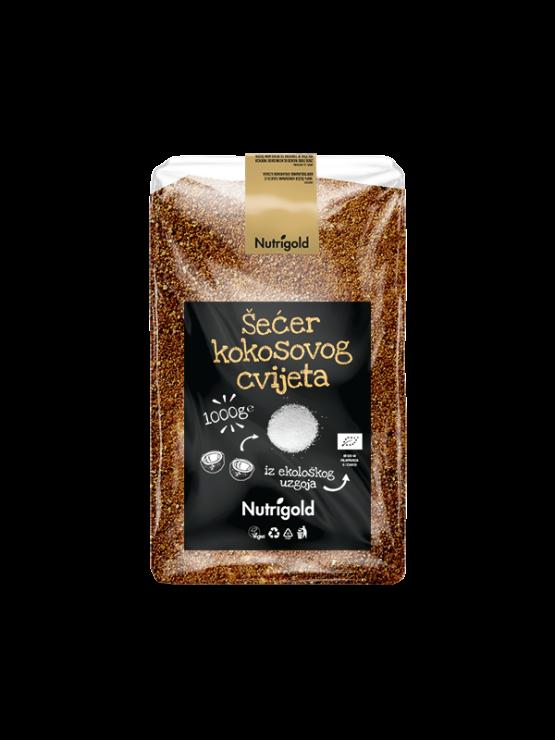 Nutrigold ekološki kokosov sladkor v prozorni plastični embalaži, 1000g.