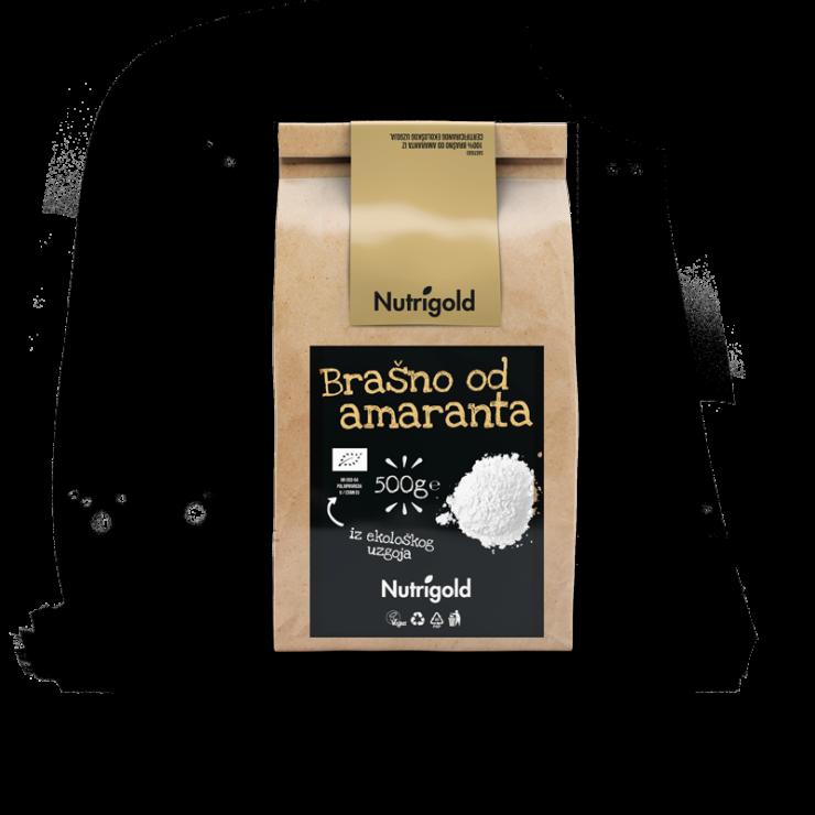 Nutrigold ekološka amarantova moka v 500 gramski prozorni plastični embalaži.