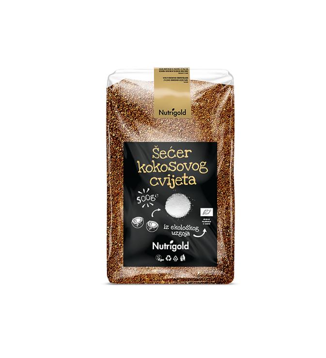 Nutrigold ekološki rjavi kokosov sladkor v prozorni plastični embalaži, 500g.