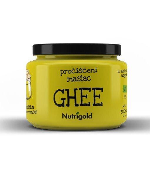 Nutrigold ghee maslo v 300 mililitrskem kozarcu.