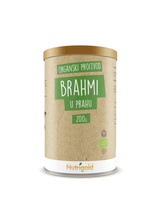 Nutrigold Brahmi v prahu v rjavi embalaži.