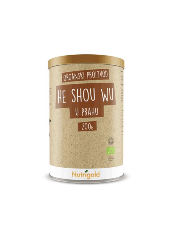 Nutrigold ekološki He Shou Wu v prahu v 200 gramski rjavi embalaži.