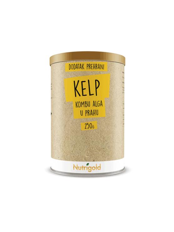 Nutrigold kelp (kombu) alga v prahu v rjavi embalaži, 250g.