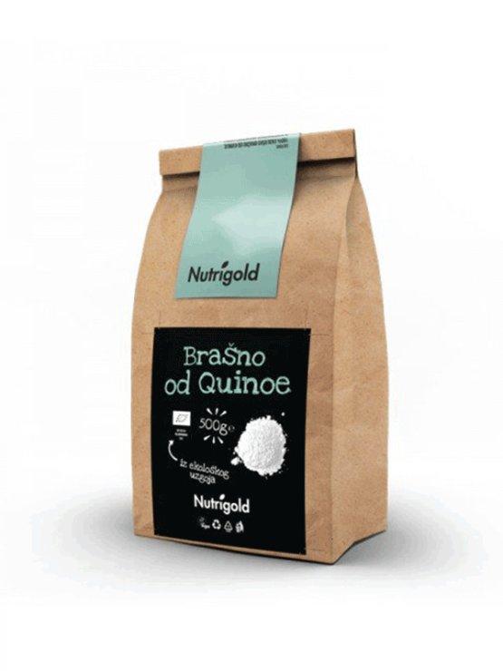 Nutrigold ekološka kvinojina moka v 500 gramski rjavi embalaži.