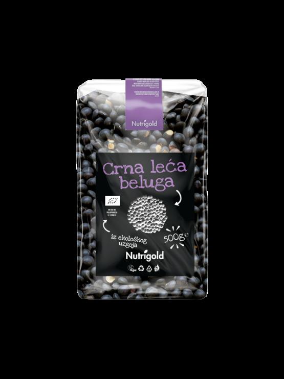 Nutrigold ekološka črna leča Beluga v 500 gramski prozorni plastični embalaži.