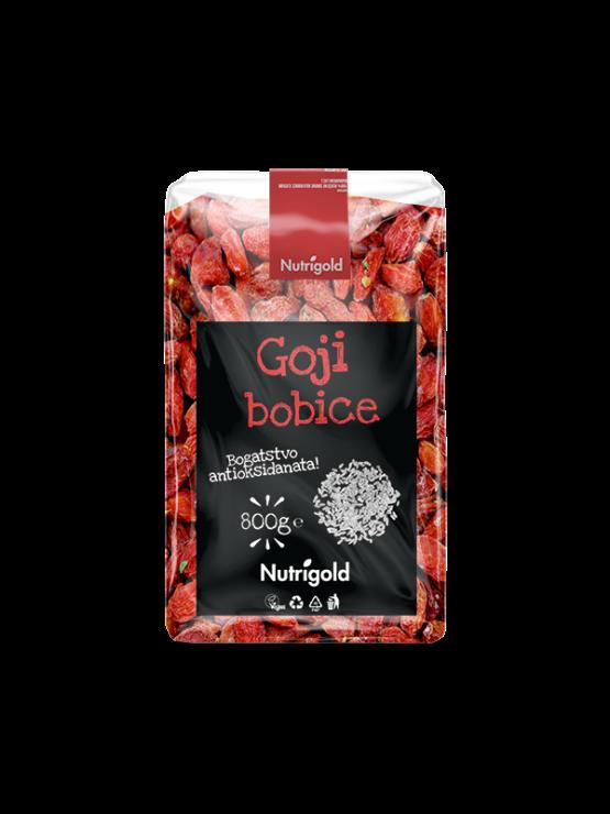 Nutrigold goji jagode v 800 gramski prozorni plastični embalaži.