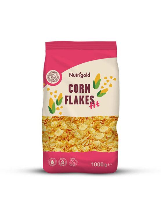 Nutrigold koruzni kosmiči brez dodanega sladkorja v 1000 gramski plastični embalaži.