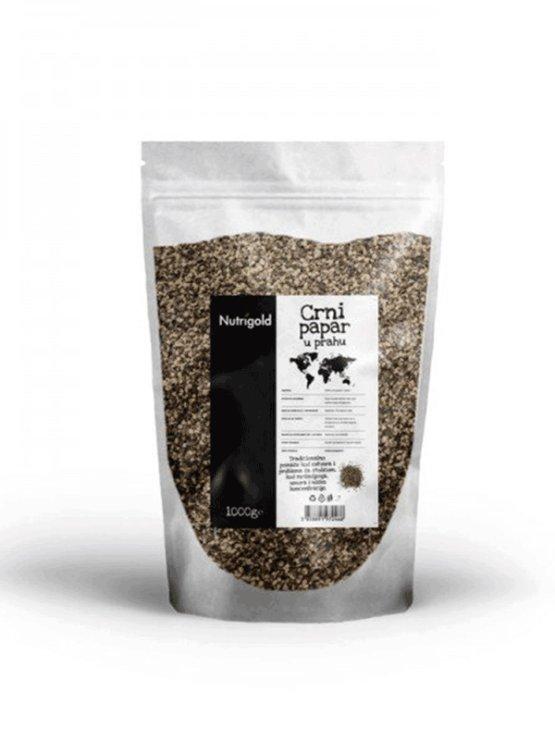 Nutrigold črni poper v prahu v prozorni plastični embalaži, 1000g.